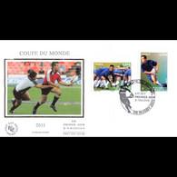 FDC Soie V2 - Coupe Du Monde De Rugby 2011 (1 Sur 2), Oblit 8/7/2011 Toulouse - 2010-....