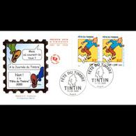 FDC JF - Tintin, Fête Du Timbre (3304A) - 11/3/2000 Paris - 2000-2009