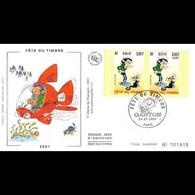 FDC Soie - Fête Du Timbre - Gaston Lagaffe (3371A) - 24/2/2001 Paris - 2000-2009