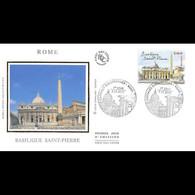 FDC Soie - Basilique Saint Pierre à Rome - 7/11/2002 Paris - 2000-2009