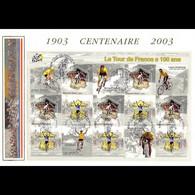 FDC GF Soie - Bloc Entier Tour De France, 28/6/03 - 2000-2009