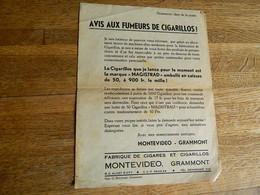 GRAMMONT:FEUILLET D'AVIS AUX FUMEURS DE CIGARILLOS! EMIS PAR LA FABRIQUE DE CIGARES MONTEVIDEO GRAMMONT - Other