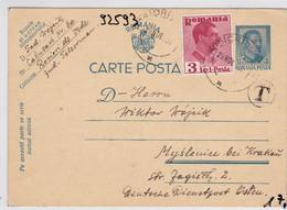 GG: Ganzsache Aus Rumänien Nach Myslenice, Zensur - Bezetting 1938-45