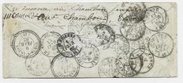 N° 14 LETTRE PC STRASBOURG 28 JANV 1862 LETTRE ENVELOPPE + DIVERS REEXP TYPE 22 GRANDIEU VORAY - 1849-1876: Klassik
