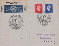 SARTHE - LE MANS - CACHET ILLUSTRE - PRIX ALFRED LEBLANC - 24-25 MAI 1947 - AFFRANCHISSEMENT MARIANNE - DULAC - LETTRE A - Luchtpost