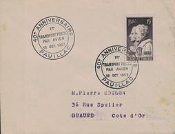 GIRONDE - PAUILLAC - 40e ANNIVERSAIRE - 1er TRANSPORT POSTAL PAR AVION - 10 OCTOBRE 1953 - TIMBRE N°845 - ARAGO ET AMPE - Luchtpost