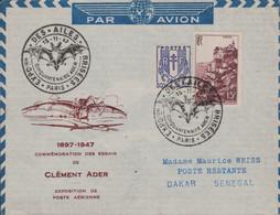 PARIS - EXPOSITION DES AILES BRISEES - 15-11-1947 - CINQUANTENAIRE CLEMENT ADER - ENVELOPPE ILLUSTREE POUR LE SENEGAL. - Luchtpost