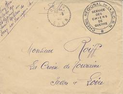 """1940- Enveloppe En F M Du Cher En F M """" CHENIL REGIONAL De La S.C.B.N. / Service Des Chiens De Guerre """" - Guerra De 1939-45"""