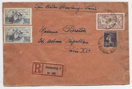 MERSON 1FR+ 35C SEMEUSE LETTRE REC STRASBOURG 1922 AVION + VIGNETTE GUYNEMER POUR PARIS RARE - Luchtpost