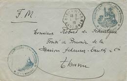 "1939- Enveloppe En F M De BISCHWIHR ( Haut Rhin ) Cad Hexag. Plein "" Régiment D'ARTILLERIE- Colonne De Ravitaillement - Oorlog 1939-45"