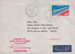 PARIS - AVIATION - 1er VOL PARIS-RIO 21 JANVIER 1976 - PAR - CONCORDE - VERSO CACHET RIO EN ARRIVEE. - Luchtpost