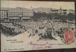 Cpa De 1907, Barcelona Plaza Cataluna, éd Hauser Y Menet (1402), Espagne Cataluna Barcelona (08-04) - Barcelona