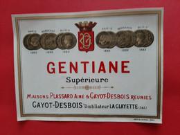 ETIQUETTE DOUIN & JOUNEAU . PARIS / GENTIANE SUPERIEURE / MAISONS PLASSARD AINE & CAYOT - DESBOIS REUNIES . / DOS SCANNE - Ohne Zuordnung
