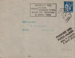 PARIS - AIR FRANCE - 1er VOL APRIS ALGER-AJACCIO-TUNIS DANS LA JOURNEE - 1er VOL PARIS ALGER - 2 AVRIL 1935. - Luchtpost