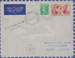 PARIS - AVIATION - SCE ETRANGER - LETTRE POUR L'ALGERIE - PAR 1er SERVICE DE NUIT ORLY-ALGER - 7-10-1947 - VERSO ARRIVEE - Luchtpost