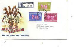 Malaisie ( FDC De 1963 Voyagé En Recommandé De KualaLumpur  Vers Singapour à Voir) - Federation Of Malaya