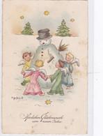 DC3243- Ak Kinder Engel Sterne Schnee Schneemann Winter Neujahrsgrüße Herzlichen Glückwunsch Zum Neuen Jahr - New Year