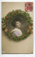 CARTE BRODEE  Sur Photographie Couronne Portrait Jeune Femme 1910 Timbrée     / SEL 2016 - Embroidered
