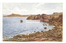 A R Quinton Postcard No. 3696 - The Island & Carthew Point, St Ives, Cornwall - 1940's - Quinton, AR