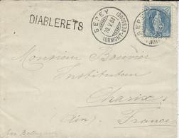 1903- Enveloppa Affr. 25 C Oblit. SEPEY + Linéaire Gare DIABLERETS - Covers & Documents
