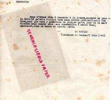 87- LIMOGES- GUERRE 1939-1945- MUR - RESISTANCE-  ARCHIVE GASTON HILAIRE ALIAS LEONIE- DE GAULLE TUNIS 27 JUIN 1943 - War 1939-45