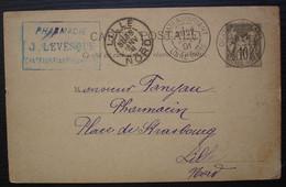 Chateaubriant Loire 1891 Pharmacie J. Levesque, Entier Postal Pour Lille - 1877-1920: Semi Modern Period