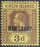 Virgin Islands 1916   Sc#MR2  War Tax MH   2016 Scott Value $4.50 - British Virgin Islands