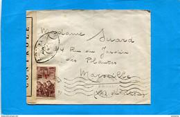 """MARCOPHILIE-  Lettre Censurée-  Cad Perpignan JA 1941 Pour Marseille Stamp """"""""N°489  Seul Sur Lettre- - Guerre De 1939-45"""