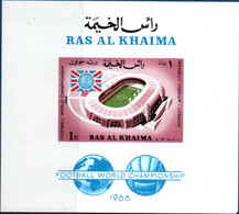 Ras Al-Khaima 1966 Wembley Football Stadium Imperforated Block MNH 2106.1014 - Other