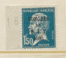 REUNION DU CONSEIL PASTEUR SURCHARGES  1 F 50 C Bleu N° 265 Neuf ** - Unused Stamps