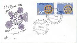 ENVELOPPE FDC CELEBRAZIONI ROTARY INTERNATIONAL ITALIE 1970 - Rotary, Lions Club