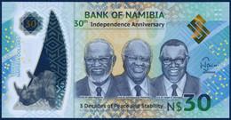 NAMIBIA - NAMIBIE 30 DOLLARS POLYMER PICK NEW COMMEMORATIVE INDEPENDENCE RHINO RHINOCEROS 2020 UNC - Namibië