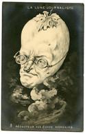 Carte Artistique.dessin Satirique.Journalistes.rédacteur Des échos Mondains.visage En Forme De Pleine Lune Et Nuages. - Other