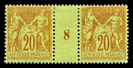N°96 * 20c Brique Sur Vert En Paire Millesime '8', TB Cote 170€ - Millesimes