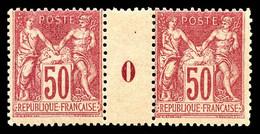 N°104 * 50c Rose En Paire Millésime '0'. TB (certificat) Cote 750€ - Millesimes