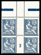 N°127 ** 25c Mouchon, En Bloc De Quatre Haut De Feuille Millésime '2'. TTB (certificat) Cote 2000€ - Millesimes