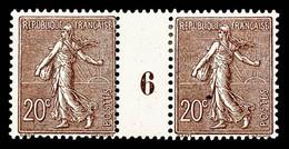N°131 * (cote Maury), 20c Chocolat En Paire Millésime '6', TB Cote 425€ - Millesimes