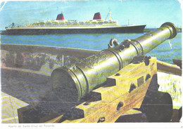 Spain:Tenerife Island, Large Cruise Ship And Cannon - Passagiersschepen
