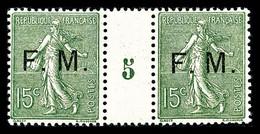 N°3 * Millésimes F.M 15c Vert Olive En Paire Millésime '5', TB Cote 210€ - Millesimes
