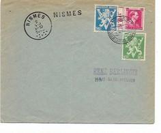 SH 0943. N° 675A-676 + PUB 168 Obl. NISMES 2.8.46 + GRIFFE NISMES S/Lettre V. Ham-sur-Heure. - Linear Postmarks