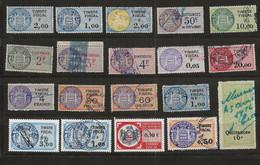 TIMBRES FISCAUX DE MONACO 19 TIMBRES Oblitérés TOUS DIFFERENTS - Revenue Stamps