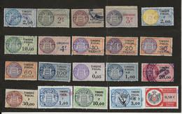 TIMBRES FISCAUX DE MONACO 20 TIMBRES Oblitérés TOUS DIFFERENTS - Revenue Stamps