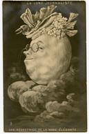 Carte Artistique.dessin Satirique.Journalistes.rédactrice De La Mode élégante.visage En Forme De Pleine Lune Et Nuages. - Other