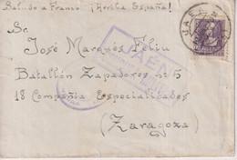 CENSURA MILITAR JAEN A ZARAGOZA BATALLON ZAPADORES NR 5 18 COMPANIA ESPECIALIDADES  PRISION Guerra Civil Española ESPAÑA - 1931-50 Covers