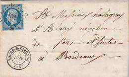 Yvert 14 Filet Droit Partiel 4 Marges Lettre De Mombrier Cachet BOURG Sur Gironde 5/11/1857  PC 476 Pour Bordeaux - 1849-1876: Klassik