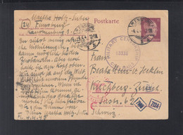 Dt. Reich Alliierte Besetzung Überroller 1945 Flensburg Nach Schweiz US Und Deutsche Zensur - Amerikaanse-en Britse Zone