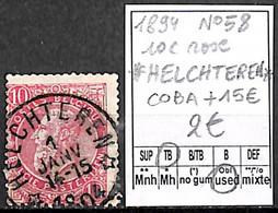 NB - [844142]TB//O/Used-Belgique 1894 - N° 58, Relais (étoiles) *HELCHTEREN*, 10c Rose, COBA + 15 ?, Familles Royales, R - Bolli A Stelle