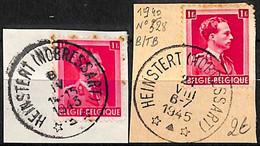 NB - [844112]B/TB//O/Used-Belgique 1940 - N° 328, Relais (étoiles) *HEINSTERT (NOBRESSART)*, Col Ouvert, Sur Fragment, F - Bolli A Stelle