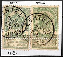 NB - [844071]TB//O/Used-Belgique 1893 - N° 56, Relais (étoiles) *HECHTEL*, Armoiries - Bolli A Stelle