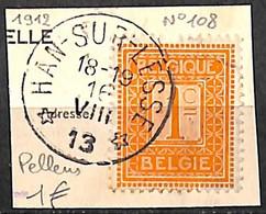 NB - [844007]TB//O/Used-Belgique 1912 - N° 108, Relais (étoiles) *HAN-SUR-LESSE*, Pellens - Bolli A Stelle
